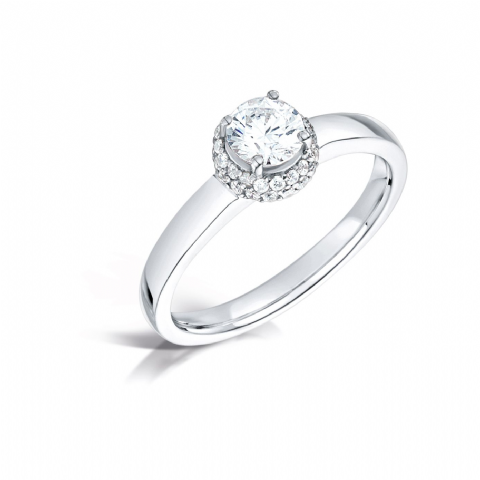 GIA Certified G VS Diamond cluster ring, Platinum. Cushion look centre round stone - 0.50ct